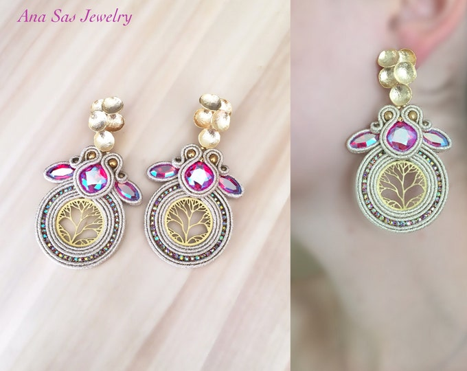 Statement soutache earrings, Swarovski crystals light siam shimmer, gold plated detailes over brass