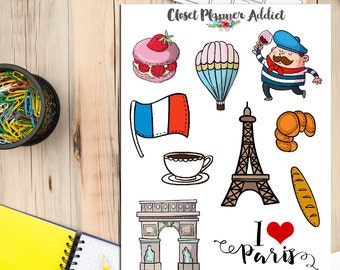 I Love Paris Travel Planner Stickers | Paris Stickers | Travel Stickers | Wanderlust Stickers | Eiffel Tower Stickers | Holidays (S-164)