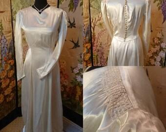 1940s Cream Satin Wedding Dress