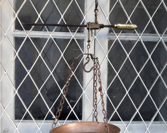 Antique Scales W/Copper Weighing Dish