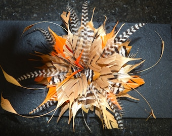 Gold, Orange, Black and White Feather Hair Fascinator, Wedding fascinator, Races Fascinator, hair clip fastener,