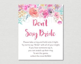 Floral Don't Say Bride Game / Floral Bridal Shower / Watercolor Floral / Pink Floral / Bridal Shower Game / Printable INSTANT DOWNLOAD B100