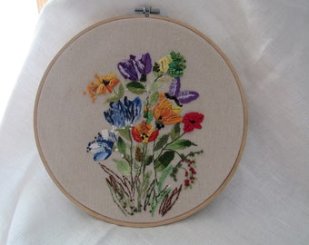 "Summer Flowers & Purple Butterfly  - Floral Hand Embroidery 10"" Hoop Art"