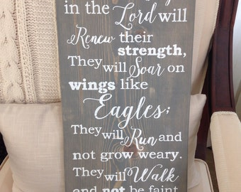 Those Who Hope In The Lord Will Renew Their Strength Isaiah 40:31,Christian Home Decor,Scripture Sign,Scripture Wall Art
