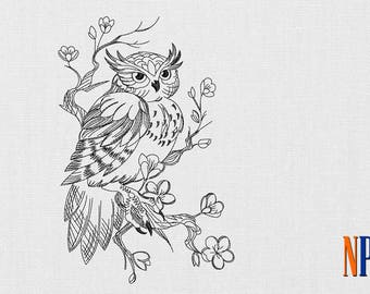 INSTANT DOWNLOAD - Owl On Branch machine embroidery design. Patterned Owl embroidery. Bird embroidery design. Embroidery file
