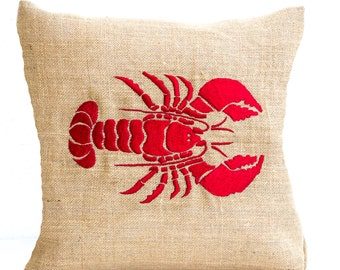 Burlap Pillow Cover, Lobster Throw Pillow, Embroidered Pillow, Beach House Pillow, Lobster Cushion, Housewarming Gift New House Gift Present