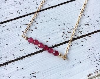 Mini Red Garnet Bar Necklace