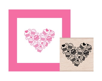 Cupcake Heart Rubber Stamp