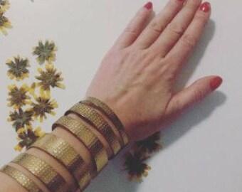 HOT Long Goldtone Vintage Metalwork Cuff Bracelet