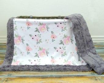 Baby Blanket - Baby Girl Blanket - Baby Girl - Floral Baby Blanket - Baby Blankets - Minky Baby blanket - Designer Minky Baby Blanket - Baby
