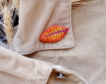 Hand embroidery brooch autumn orange leave