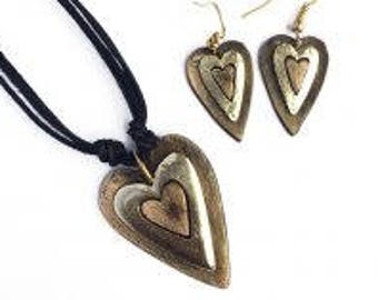 Pewter jewlery, Pewter Necklace and Earrings Set, Heart Set