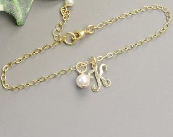 Personalized Bracelet Gold Initial Bracelet - Bridesmaid Jewelry Personalized - Initial Jewelry - Friendship Bracelet - Personalized Gift