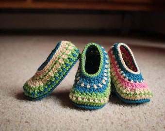 Crochet Slipper Pattern - Galilee Slippers (Child through Adult Sizes)
