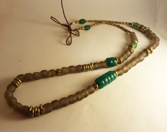 Asymmetrical African beaded necklace brown and blue green vintage flower beads with brass