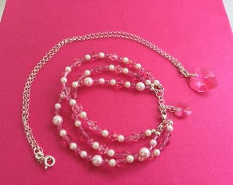 Rose Pink Swarovski Crystal and Pearl  Triple Strand Bracelet and Necklace with Hearts.