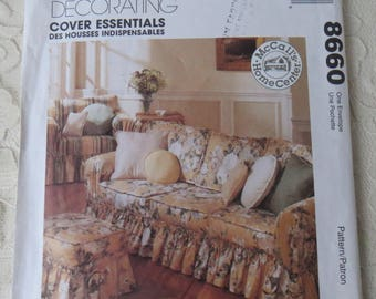 McCalls 8660 Sewing Pattern Home Decor Sofa Chair & Ottoman Covers Throw Pillows OOP