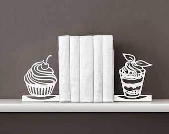 Book ends Dessert Bookends Book shelf decor Housewarming gift Book lover gift Metal bookends Book end - white