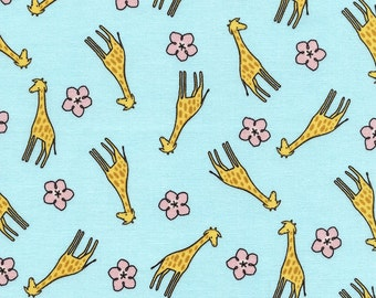 "Giraffe Fabric, Cartoon Fabric: Timeless Treasures Fun C3349 Baby Giraffe & Floral Toss Aqua 100% cotton Fabric by the yard 36""x43"" (TT47)"