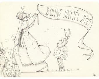 """Original illustration """"Anouk and Lulu"""" in pencil, exemplary unique!"""