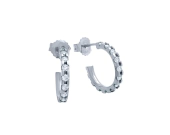 925 Sterling Silver 15 mm Rhodium Plated Small Eternity CZ Earrings