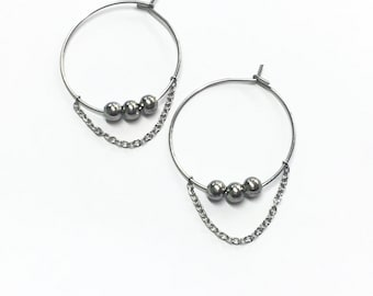 Hoop earrings 25mm with beads and chain steel