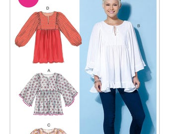 Sewing Pattern for Misses' Gathered Tops and Tunic, McCall's Pattern 7325, Boho Style Top, Full Sleeve, Easy Sew Pattern, Plus Sizes