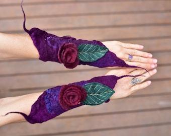 Felt Flower Cuffs-Leaf Fairy Wrist Cuffs-Pixie Jewelry-Matching Bracelets-Felt Flower Jewelry-Fairy Costume-Festival Wear OOAK
