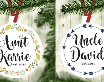Aunt and Uncle Ornaments, New Aunt and Uncle Personalized Christmas Ornament, Aunt and Uncle Gift, pregnancy reveal