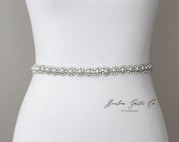 Dainty Bridal Belt, Floral Rhinestone Bridal Sash, Beaded Bridal Sash, Wedding Belt, Wedding Sash Rhinestone Sash B84S