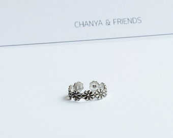 Flower tribal toe ring, Sterling silver ring  , boho jewelry ring , adjustable ring, summer jewelry, flower toe ring