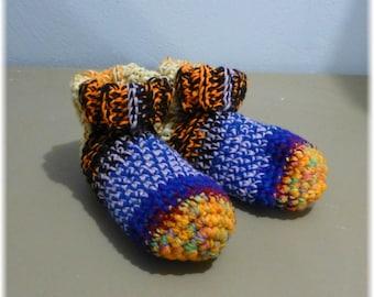 Crochet Slipper Socks Booties Mixed Colors Size 9 10