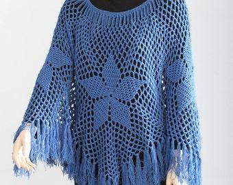 vintage granny square poncho crochet poncho pattern pdf cape. Black Bedroom Furniture Sets. Home Design Ideas