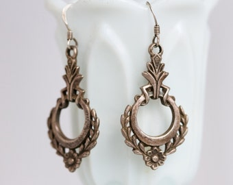 Gothic Earrings - Sterling Silver Dangle and Drop Boho Earrings - Vintage Oxidized Jewelry
