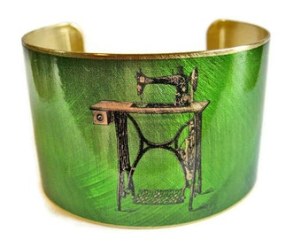 Sewing machine cuff bracelet brass Gifts for her