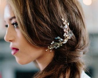 FIREFLY moonstone labradorite bohemian wedding comb, boho opalescent bridal headpiece