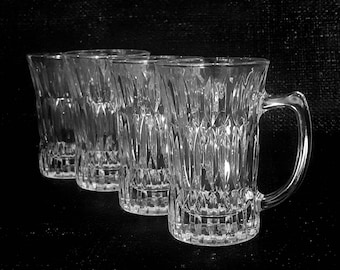 4 glass mugs - vintage glass tea cups - cordial glasses - set of four - made in Japan - ADERIA herbal tea espresso cups
