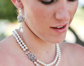 bridal pearl necklace, pearl necklace, Wedding Rhinestone necklace, swarovski crystal and pearl necklace, Statement necklace, ROSELANI