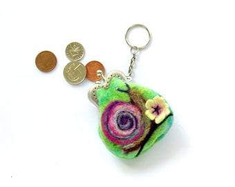 Snail tiny kiss lock coin purse with keychain Bag charm  Ready to Ship Handmade under 50 USD