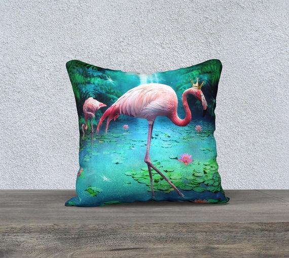 whimsical Flamingo art pillow cover