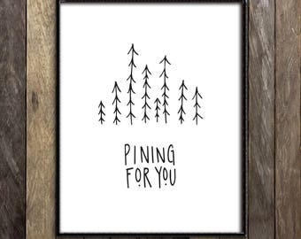 Forest Print, Paper Anniversary Gift for Him, Wedding Gift for Couple, Outdoorsman Gift, Love Quote Print, Ink Drawing, Line Drawing