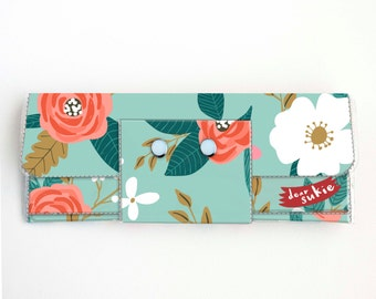 Handmade Vinyl Long Wallet - Botanical Blue / vegan large wallet, clutch, zipper, card case, vinyl wallet, snap wallet, flowers, gift, blue