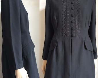 Vintage black embroidery long jacket lagenlook gothic size 14