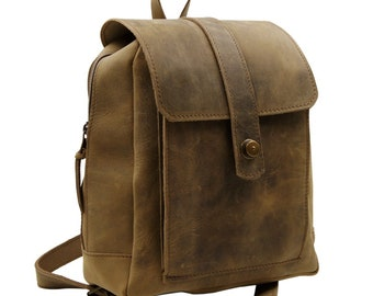 Vintage Backpack - Daypack - Citypack TIRA made of cowhide leather in new antique brown - Handmade in Germany