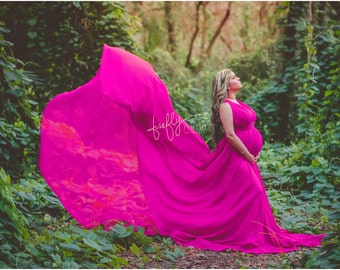 Candy pink Infinity  Chiffon Full Circle Maternity Gown with long train, photo prop