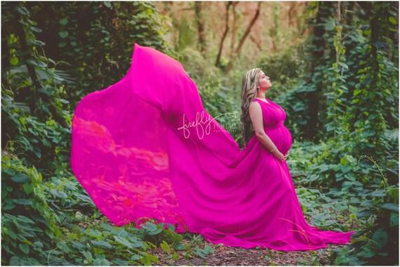 photo prop train Circle Infinity Full with Green Caroline long Basil Gown Maternity Chiffon PU7XXv