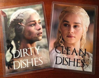 Daenerys Targaryen | Khaleesi | Game of Thrones Reversible Dishwasher Magnet | Geek Kitchen | Clean Dirty Magnet | Game of Thrones