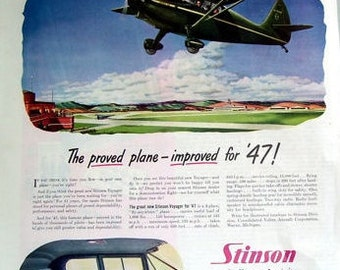 1946 Stinson Voyager Personal Plane, Your Own Plane Ad, Original Magazine Ad, Consolidated Vultee Aircraft Corp, Vintage Airplane Ad