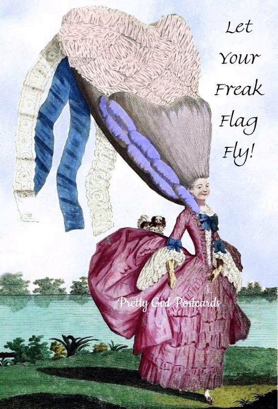 Let Your Freak Flag Fly! Marie Antoinette Funny Postcard. Marie Antoinette.