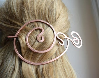 Copper hair fork, Hair accessories, Hair barrette, Brooch, Hair slide, Hair pin, Copper hair slides, Gift for her, FREE SHIPPING